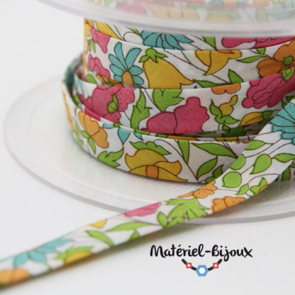 50cm biais liberty Poppy and Daisy multicolore pas cher