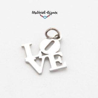 pendentif love inoxydable avec anneau de jonction